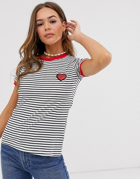 Brave Soul stripe ringer t-shirt with heart embroidery in blackwhitered