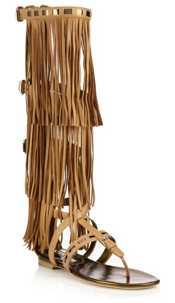 Brian Atwood Adriana Fringed Leather Flat Sandals in camel - Layers of long fringe add swing to knee-high sandal....