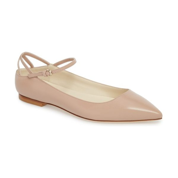 BRIAN ATWOOD astrid ankle strap flat in nude nappa - Slender straps pretty up a sleek, understated little...