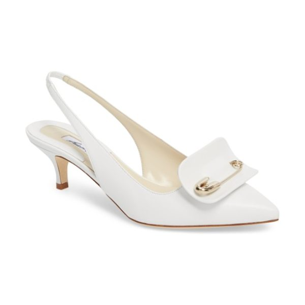 BRIAN ATWOOD guiliaa slingback pump in white nappa - Distinctive hardware flashes at the vamp of an...
