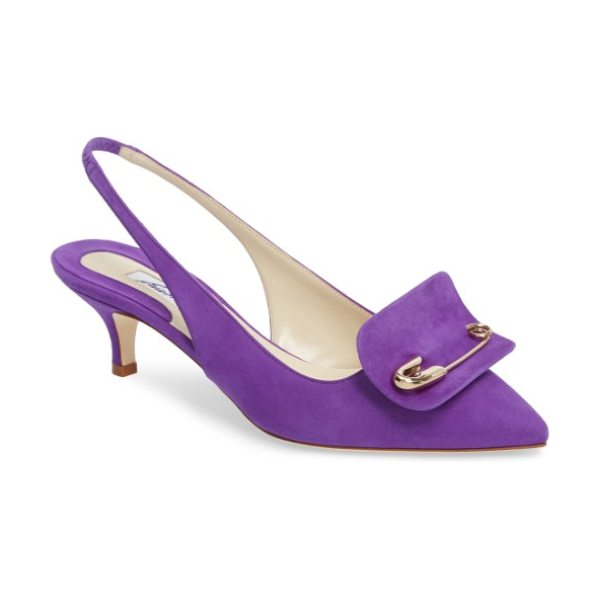 BRIAN ATWOOD guiliaa slingback pump in viola suede - Distinctive hardware flashes at the vamp of an...