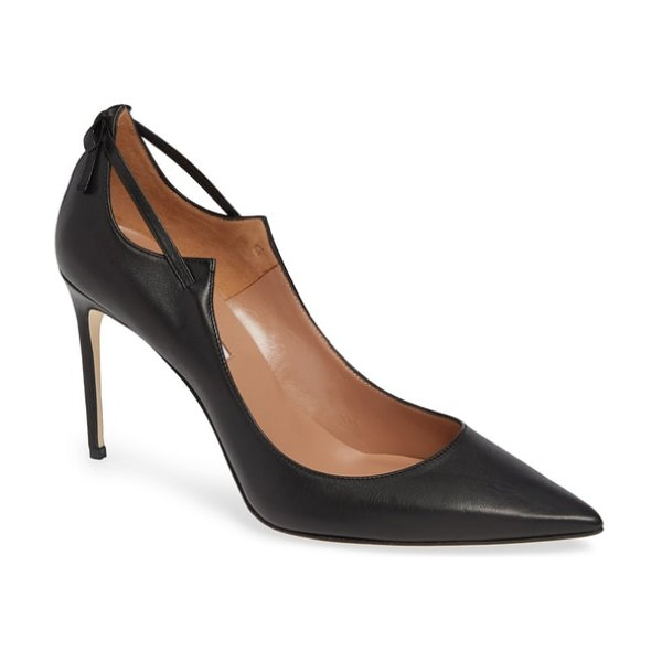Brian Atwood veruska pointy toe pump in black suede - Paring down a laced look to its barest essentials, this...