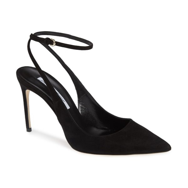 Brian Atwood vicky wraparound pump in black - A dramatically pointed toe balances the curvy, tapered...