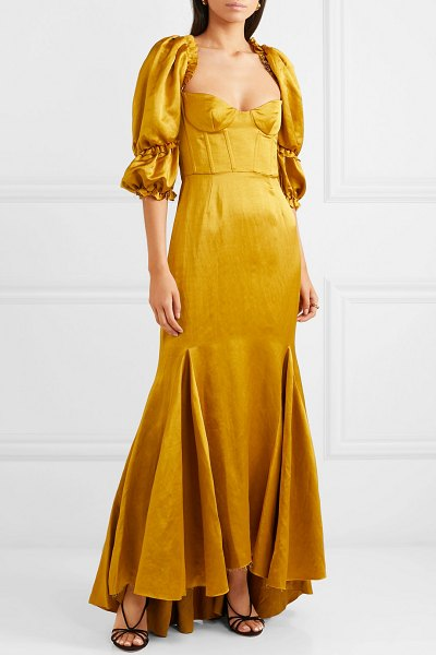 Brock Collection bow-detailed ruffled twill maxi dress in yellow - Alicia Vikander, Emily Ratajkowski and Margot Robbie are...