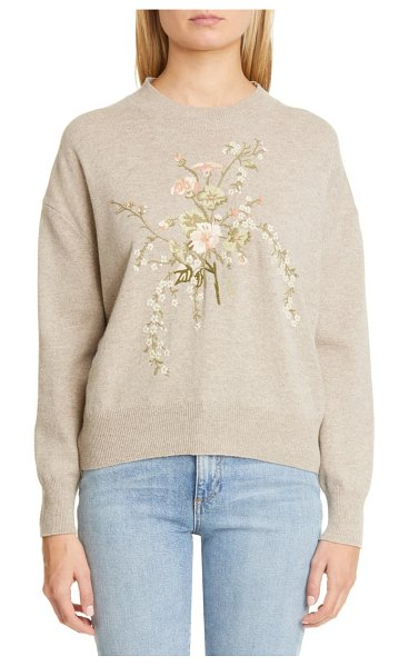 Brock Collection floral embroidery wool & cashmere sweater in light beige