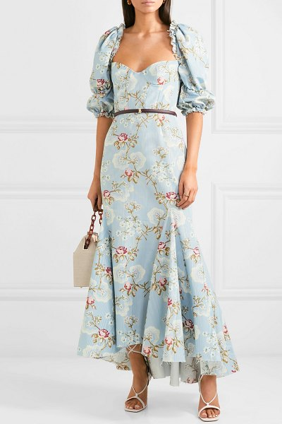 Brock Collection floral-print cotton-blend faille dress in turquoise - French restaurant Le Coucou in New York proved the...