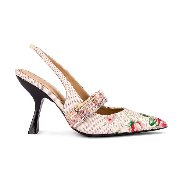 Brock Collection floral slingback heels in white & pink