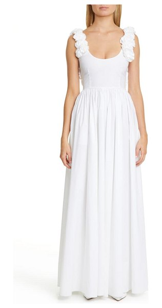Brock Collection floral stretch cotton maxi dress in white