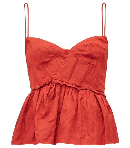 Brock Collection peplum-hem satin bustier top in red
