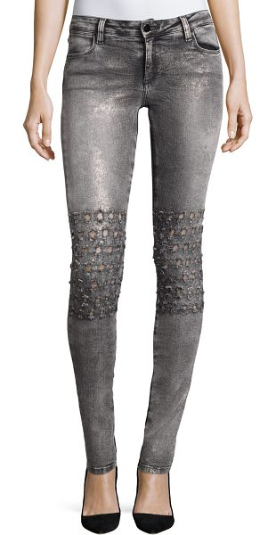 "Brockenbow Emma Mid-Rise Skinny Jeans in gray - Brockenbow ""Emma"" jeans in Rush Vegas faded denim with..."