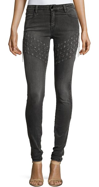 """Brockenbow Plaza Emma Chain Embroidered Skinny Denim Jeans in gray - Brockenbow """"Plaza Emma"""" pants in dark gray-wash with..."""