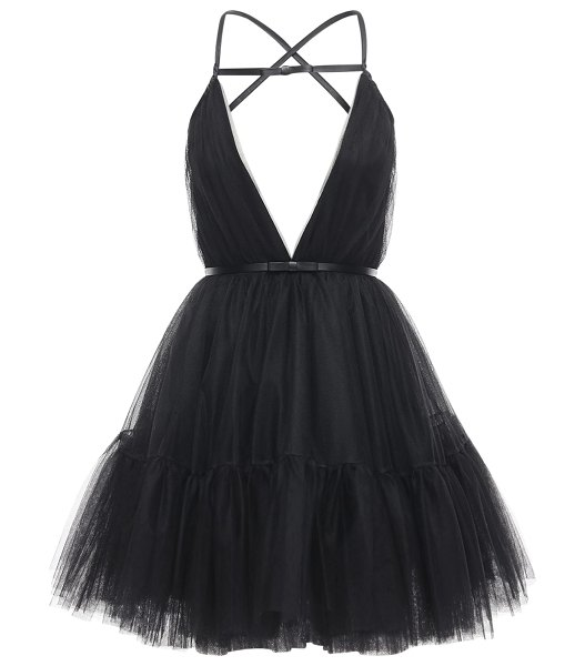 BROGNANO Tulle mini dress w/ faux leather details in black