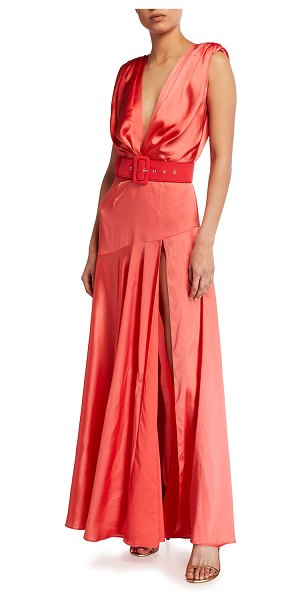 Bronx and Banco Carmen Belted Satin Maxi Gown in orange
