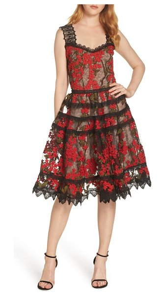 Bronx and Banco elsa sleeveless lace fit & flare dress in multi color