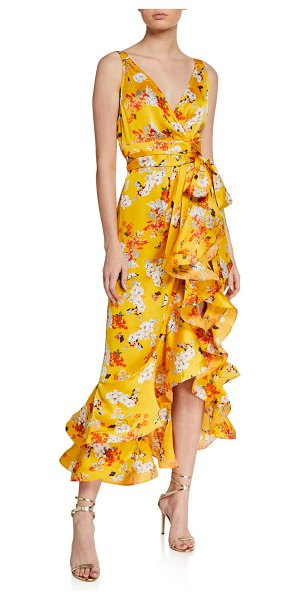 Bronx and Banco Narciss Floral High-Low Ruffle Maxi Dress in yellow
