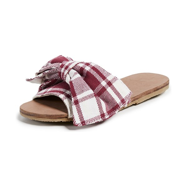 Brother Vellies burkina slides in topanga - Fabric: Canvas Knotted bow Printed Slide sandals Flat...