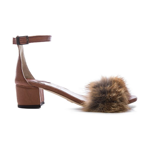 Brother Vellies Dhara Tufted Fox Fur Sandals in brown - Leather upper and sole.  Made in Ethiopia.  Fur Origin:...