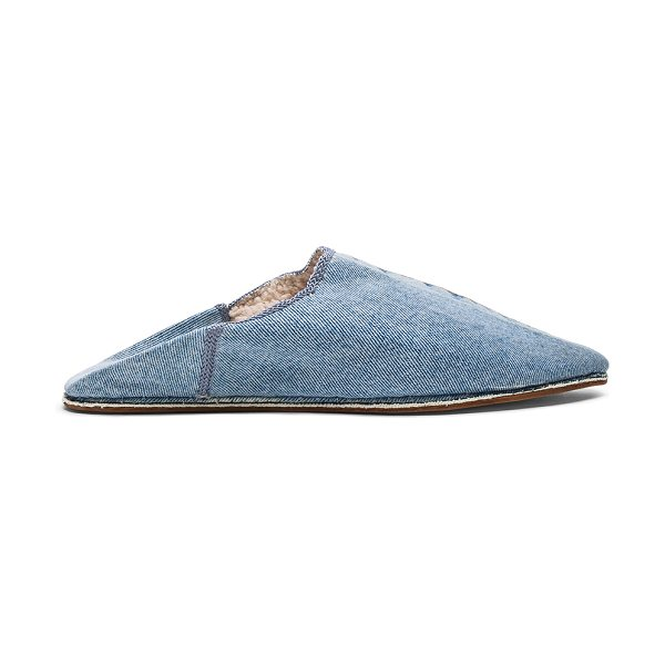 Brother Vellies Sherpa Babouche Slides in blue - Denim upper with leather sole.  Made in Morocco.  Sherpa...