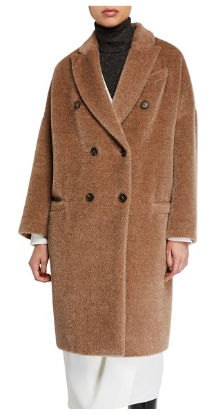Brunello Cucinelli Alpaca-Wool Double-Breasted Melton Coat in medium brown