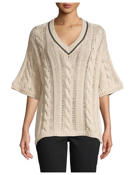Brunello Cucinelli Cable-Knit Cotton-Blend Sweater in white