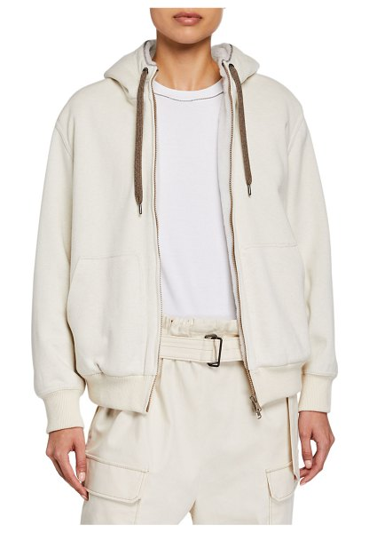 Brunello Cucinelli Cashmere-Blend Fleece Lined Sweater in ivory