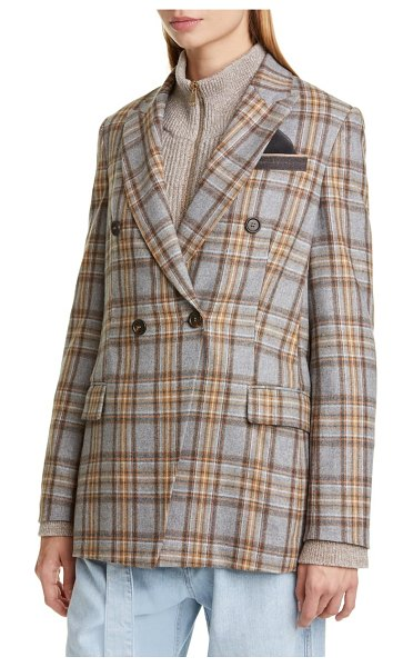 Brunello Cucinelli double breasted check flannel blazer in pebble gingerbread