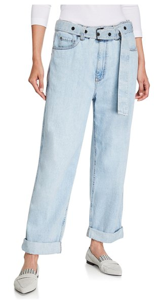Brunello Cucinelli Grommet-Belted Relaxed-Fit Jeans in white