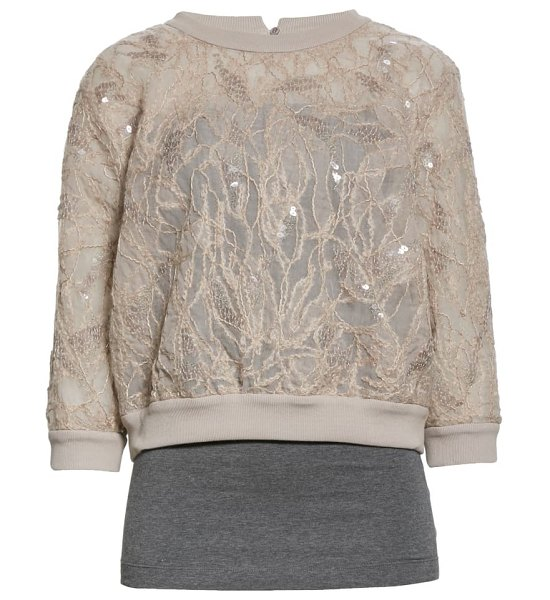 Brunello Cucinelli layered embroidered silk tulle top in cx903-pebble