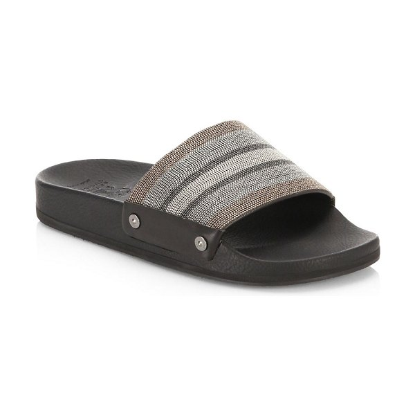 a1825f8ae40d0b Brunello Cucinelli embellished leather flip-flops in graphite - Beaded  stripes at vamp adorn textured