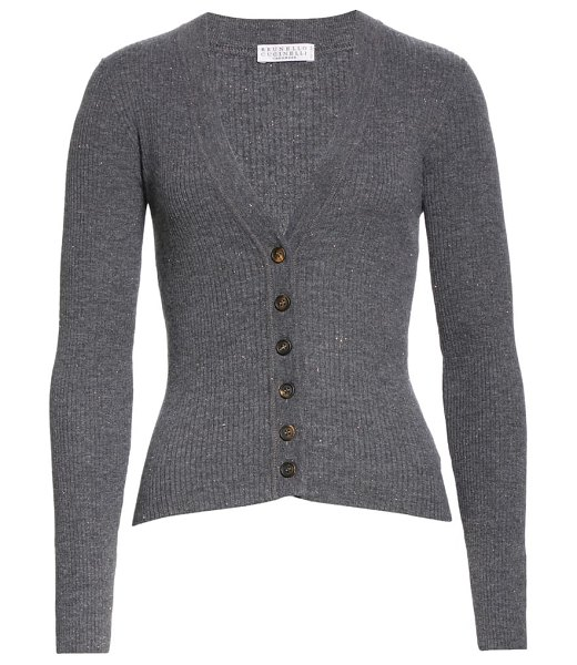 Brunello Cucinelli metallic rib cardigan in c078-med grey