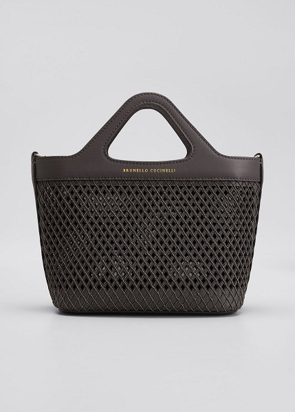 Brunello Cucinelli Mini Monili Laser-Cut Tote Bag in dark gray