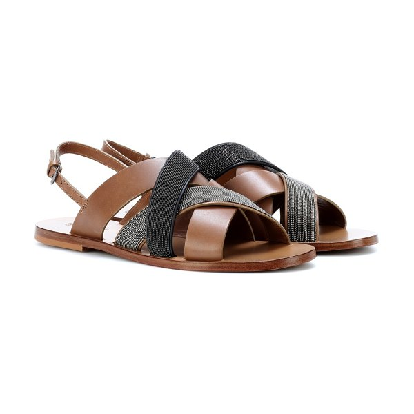 23ae19fee5eb Brunello Cucinelli Monili-beaded leather sandals in brown - Brunello  Cucinelli s aesthetic of athleisure luxe