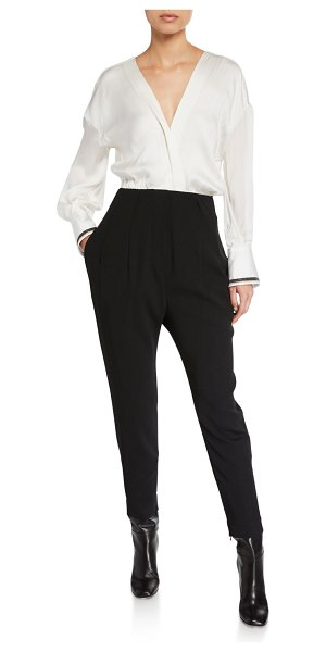 Brunello Cucinelli Monili-Cuffed Long-Sleeve Jumpsuit in white/black