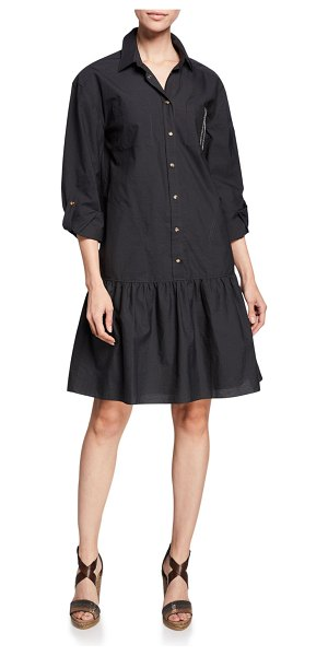 Brunello Cucinelli Monili Trim Drop-Waist Crinkle Cotton Shirtdress in black
