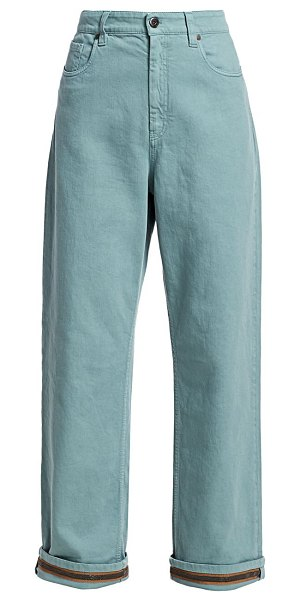 Brunello Cucinelli relaxed monili cuff jeans in sage
