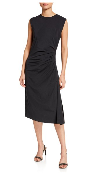 Brunello Cucinelli Ruched Cotton Jersey Dress in charcoal