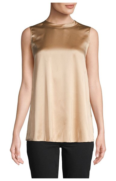 Brunello Cucinelli Sleeveless Stretch-Silk Top in light brown