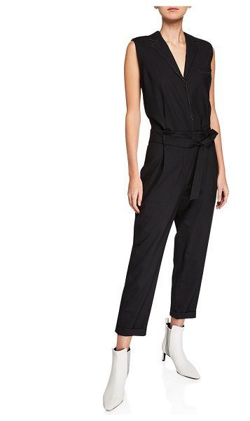 Brunello Cucinelli Tropical Wool Sleeveless Monili Beaded Jumpsuit in black