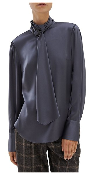 Brunello Cucinelli wrapped monili turtleneck silk blouse in charcoal