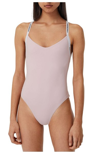 Burberry alagnon logo strap one-piece swimsuit in orchid pink