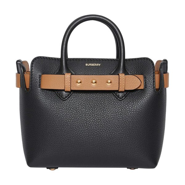 Burberry mini belt triple stud leather tote in black
