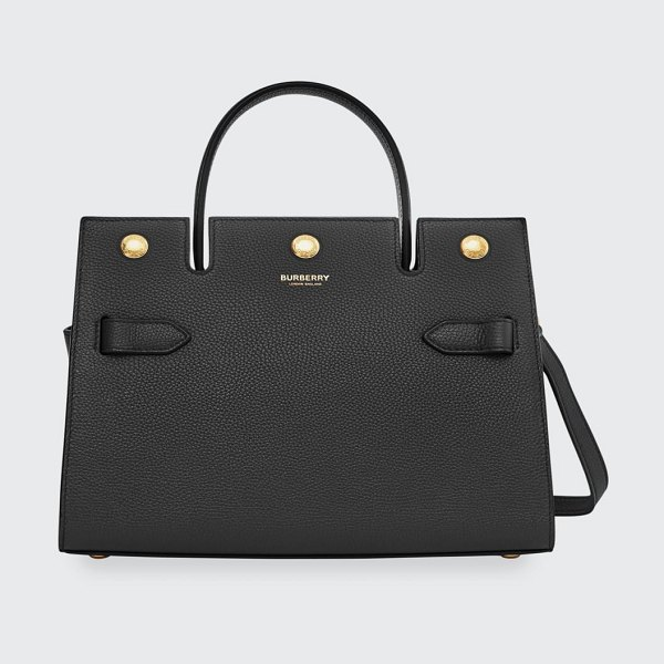 Burberry Baby Italian Leather Tote Bag in black
