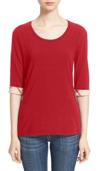 Burberry check trim tee in lacquer red
