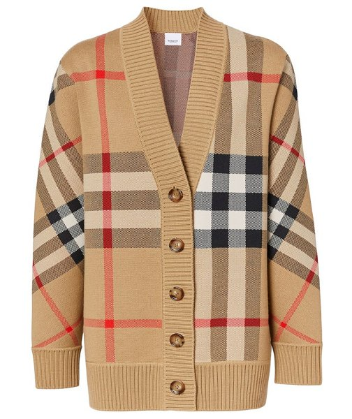 Burberry caragh oversized checked cardigan in beige multi
