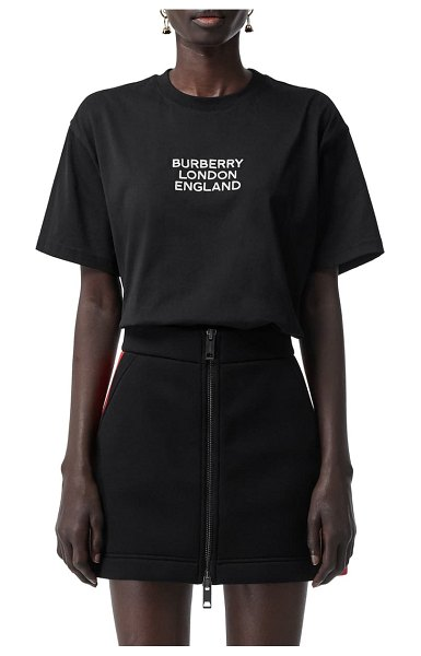 Burberry carrick logo embroidered tee in black