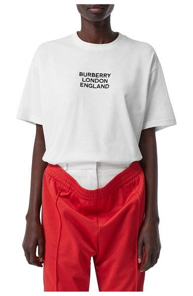 Burberry carrick logo embroidered tee in white