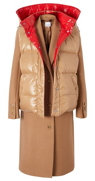 Burberry cashmere coat with convertible puffer vest in bronze