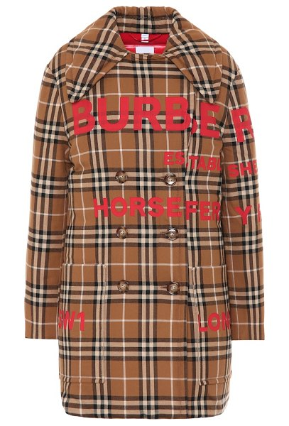 Burberry check cotton down coat in brown