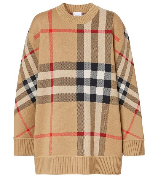 Burberry calee oversized checked sweater in beige multi