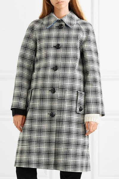 Burberry checked wool coat in black